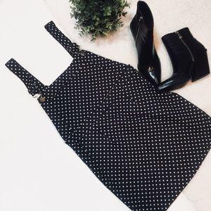 Black/White Denim Polka Dot Pinafore Overall Dress